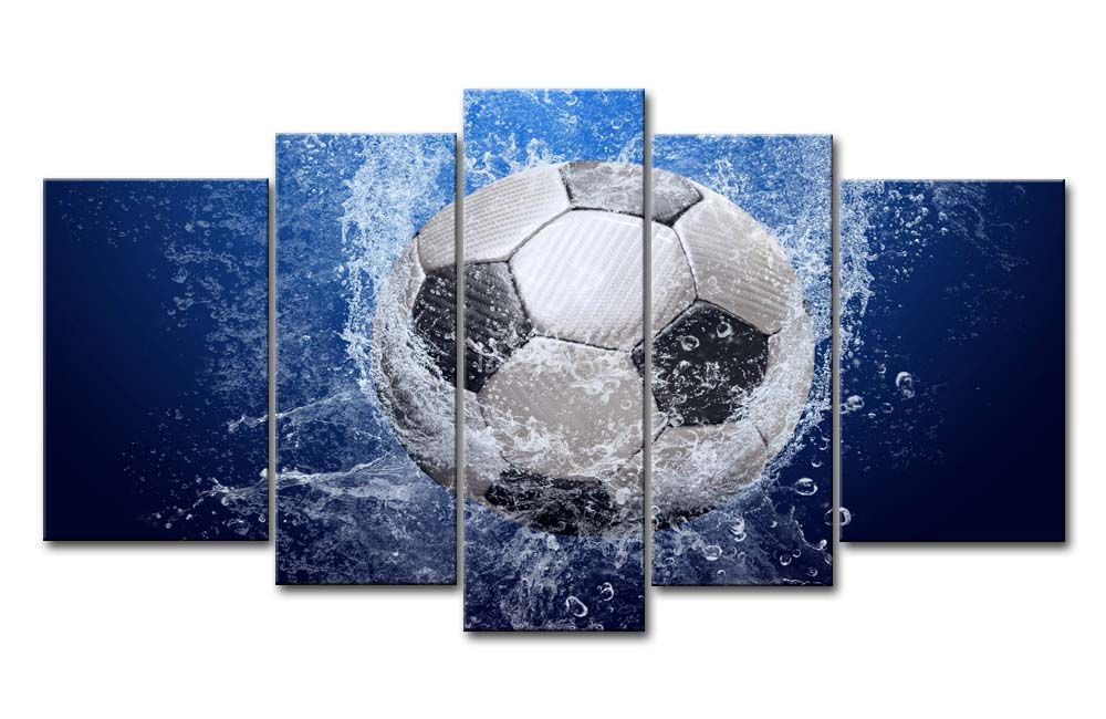 5 Piece Blue Wall Art Painting Soccer In Water Print On
