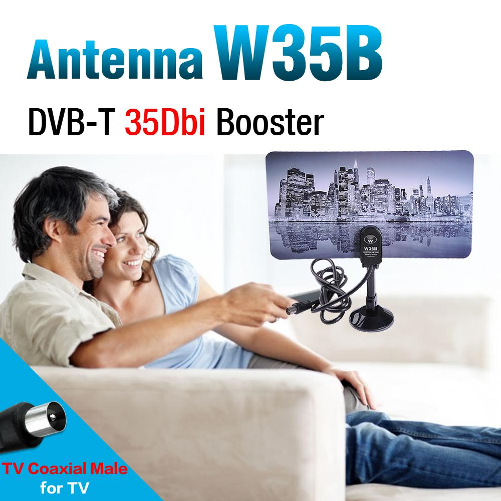 53%off 2016 new Digital Indoor TV Antenna HDTV DTV Box Ready HD VHF UHF Flat Design High Gain Booster Aerial IEC Connector #8(China (Mainland))