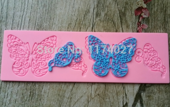 New Arrival 1X Pink Butterfly Figure Decor Silicon Molding Lace Fondant Mold Decorating Cake Tools DIY Pastry Mould(China (Mainland))