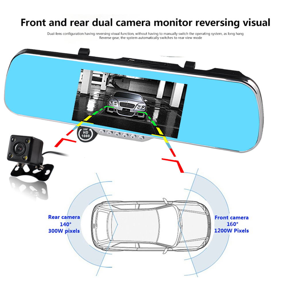 7 inch car dvr recorder full hd 1080p 160 degree dual camera rear view mirror GPS navigation camera dvr free shipping(China (Mainland))