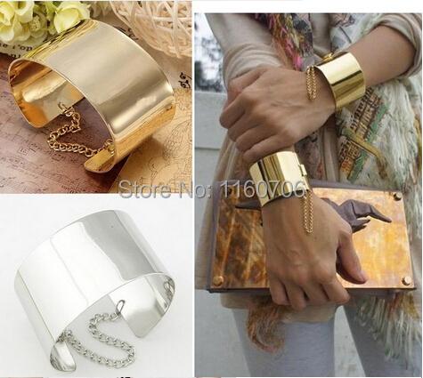 Металлический золото тон прикованный широкий браслет браслет мужчины ювелирные изделия ...