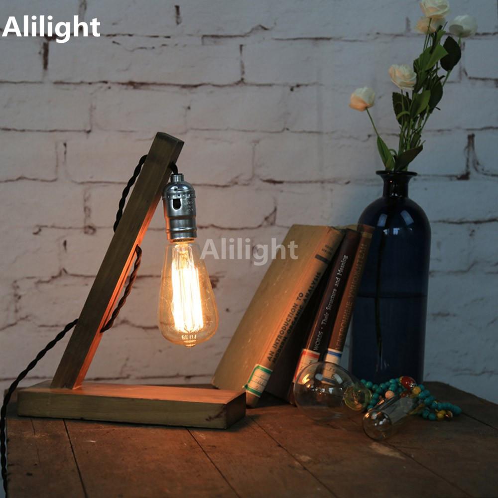 Loft Wood Table Lamp Vintage Style Oak Cafe Shop Desk Lights E27 Edison Bulb Beside Lamp Antique Home Decors Table Light Fixture(China (Mainland))