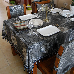 Europe Luxury Black Floral Pattern Table Cloth Hotel Home Wedding Party Banquet Decoration Customize(China (Mainland))