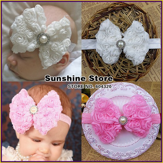 handmade baby white headbands chiffon rosette pearl;princesa-Shabby Bows girl rhinestone hairband #2B2261  10 pcs/lot (2 colors)