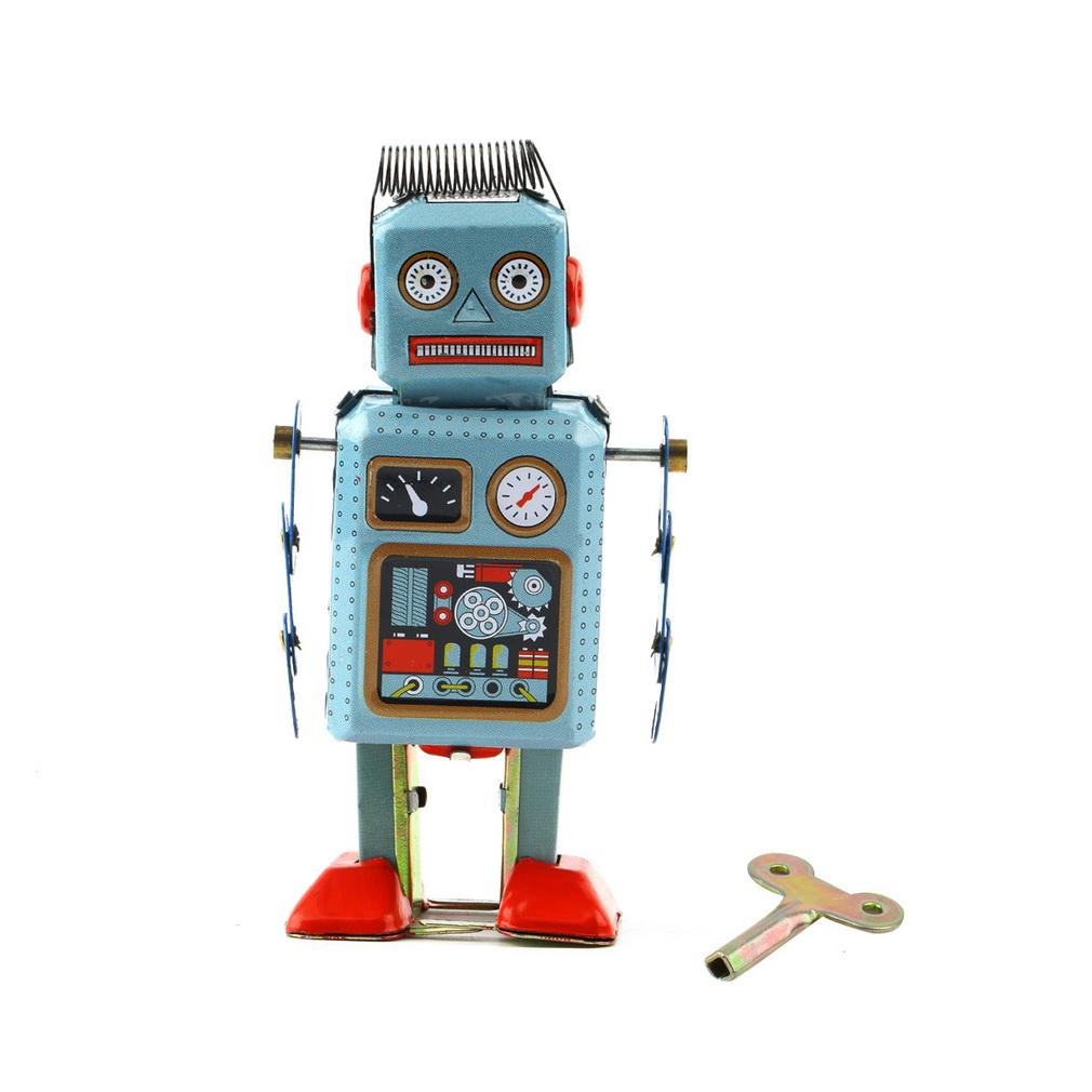 1pc Vintage Clockwork Mechanical Wind Up toy Metal Walking Radar Robot Tin Toys Kids Gift(China (Mainland))