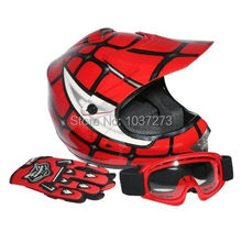 New DOT Youth Kids Red Spider Net Motocross Off-Road Helmet MX Goggles+Gloves S (China (Mainland))