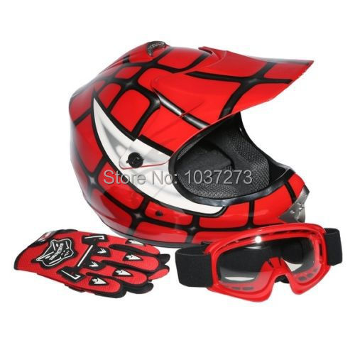 New DOT Youth Kids Red Spider Net Motocross Off-Road Helmet MX Goggles+Gloves S(China (Mainland))