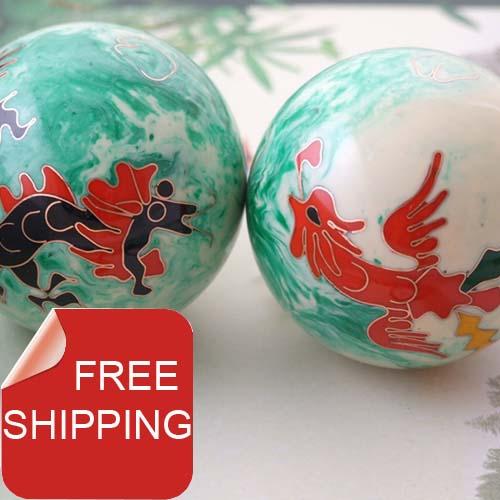 50mm40mm baoding iron balls w/dragon&phoenix in elegant jade color.Chime health balls.Stress balls.Red paper box.Free shipping.