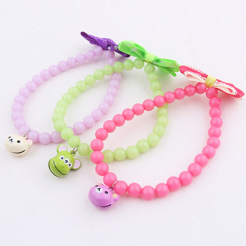 10pcs/lot Cute Pink Purple Blue Small Dog Cat Necklace With Bell Boutique Handmade Pet Accessories Decorated With Bow(China (Mainland))