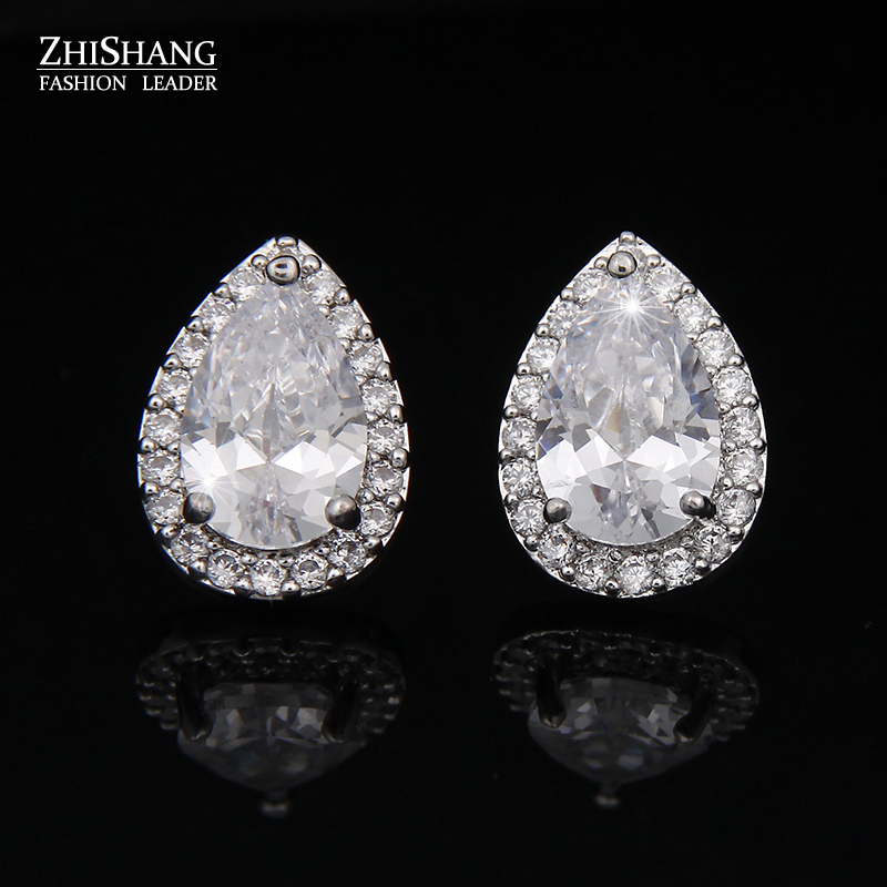 2016 Classic Earings White Gold Plating Inlay Pear Shape Cubic Zirconia Diamond Earrings Stud For Women Boucle d'oreille WE006(China (Mainland))