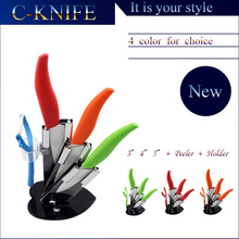 New 2015 Kitchen knife cooking tools 3+4+5 inch+peeler +acrylic holder ceramic knives set ABS handle kitchen accessories