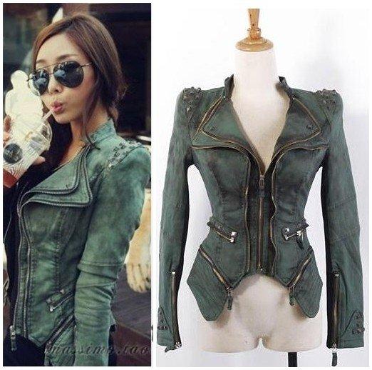New fashion Star jeans women Punk spike studded shrug shoulder Denim cropped VINTAGE jacket coat ...