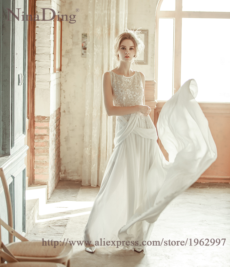 Vestidos Baratos 2016 New Design Slim Sequin Flower Decorate Cheep Wedding Dress Beach Sleeveless Chiffon Wedding Dress zh2012(China (Mainland))