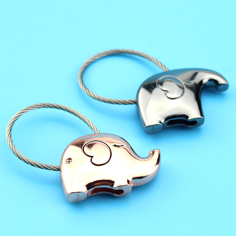 Elephant Couple Keychain Cute Key Ring For Women Wire Rope Key Chain Festival Creative Girl Gift Metal Keychain O-467