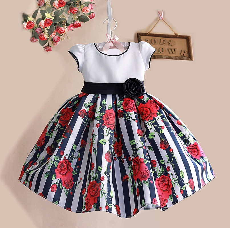 1-6Y Floral Print Baby Girls Dress Black Striped Rose Cotton Kids Dresses for Party Birthday kinderkleding meisjes(China (Mainland))