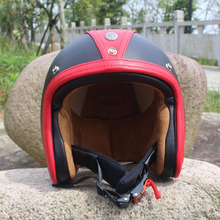 2016 Black Red Cow Leather Retro Motorcycle Open Face Helmets Goggles 3/4 Vintage Helmet Scooter Casco Moto Jet Dot - running with flower store