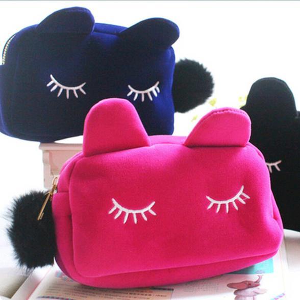 Best Selling Cute Cat Shape Cosmetic Bags Cartoon Cell Phone Bags Handbags Makeup Bag