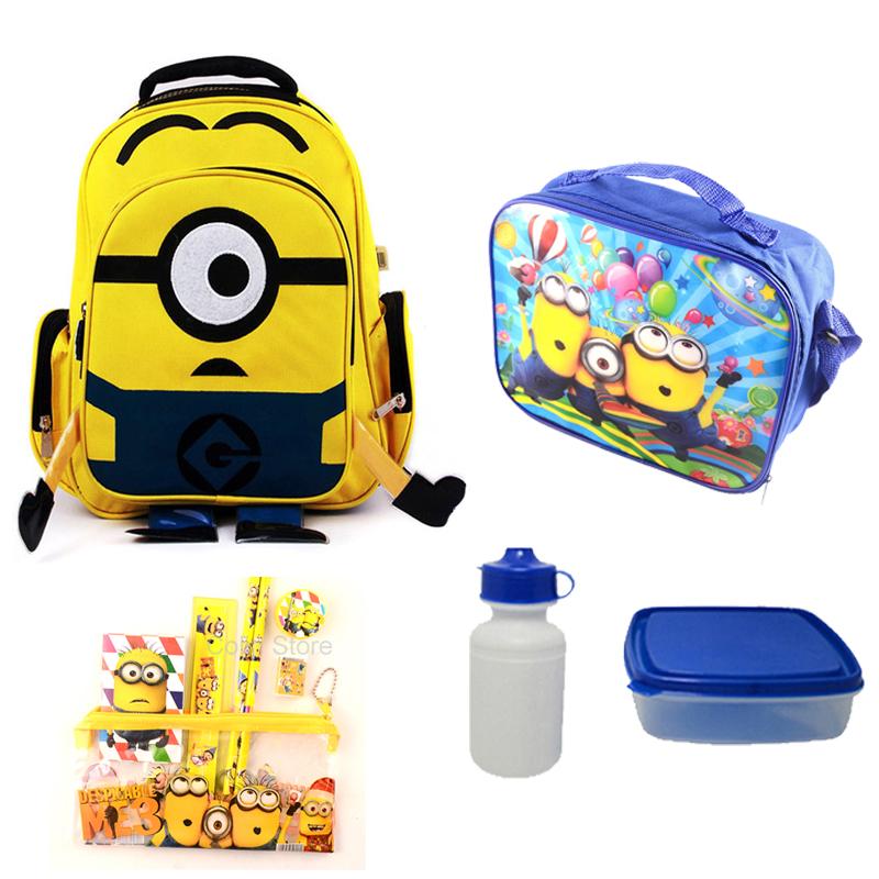 Children Backpacks School Bags Set For Girls&Boys mochilas Minion Backpack Cartoon Bag 15.7 inch High Quality(China (Mainland))