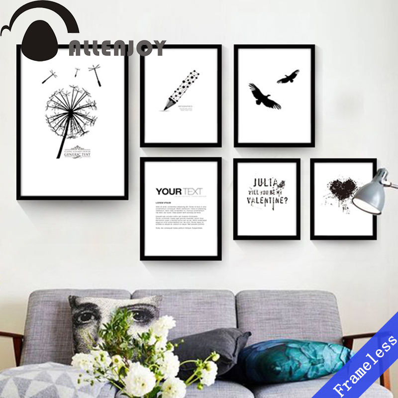 Nordic Simple Dandelion Black and white Mural decoration oil paintings art canvas wall picture for living room Porch home decor(China (Mainland))