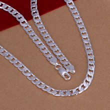Manufacturing unit value 925 sterling silver jewelry 6mm flat side hyperlink chains necklaces model constructive assertion 925 silver necklace males 047