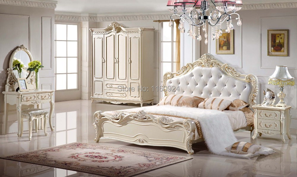 European style luxury wooden bedroom suite 1 bed 1 for Chambre complete italienne