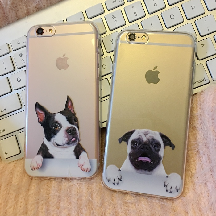 Cute Cartoon Animals Feed Dogs With Logo Transparent Cover Case For iPhone 5 5s 6 6s 6Plus French Bulldog Pug Soft Case Capa(China (Mainland))