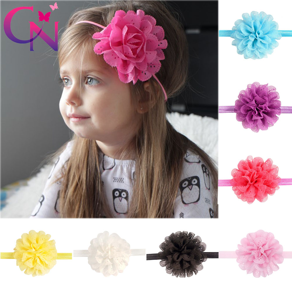 16 Pcs/lot High Quality Summer Style Eyelet Flower Headband For Baby Girls Cute Chiffon Flower Hair Band Kids Hair Accessories(China (Mainland))