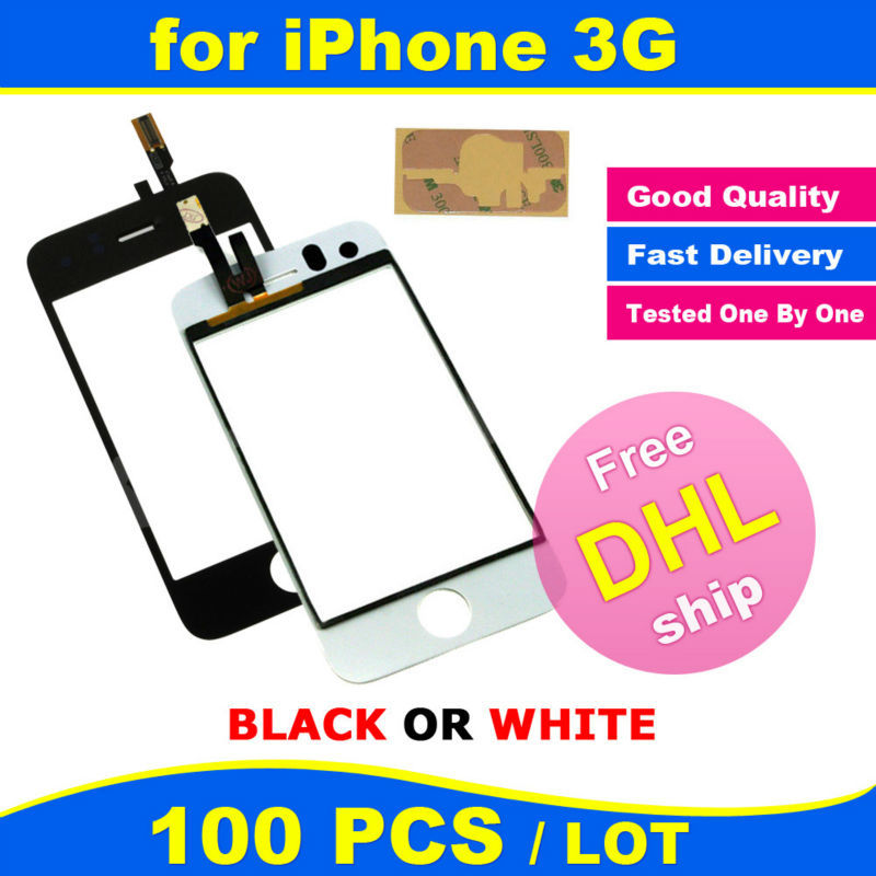FREE DHL X 100 PCS LOT BLACK or WHITE Original Glass Touch Screen Digitizer Touch Panel Replacement Adhesive for iPhone 3 3G(China (Mainland))