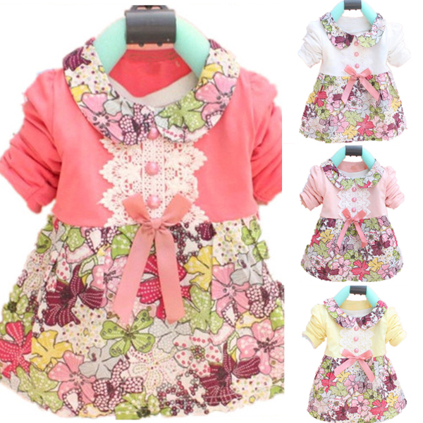 Toddler Baby Girls Floral Princess Dress Bow-knot One Piece Kids Dress 0-2Y(China (Mainland))