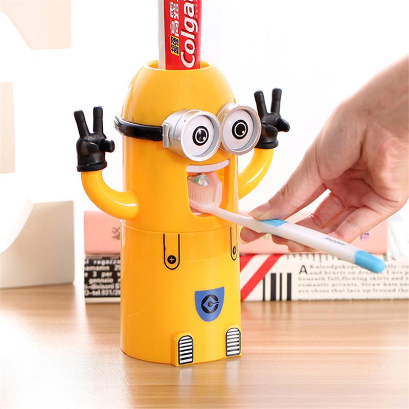 Eco Friendly Minion Automatic Toothpaste Dispenser Bathroom Accessories Sucti
