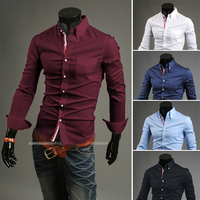 Мужская повседневная рубашка 200659963-RIGOAL 2015 camisa masculina MB605 camisas slim fit /xxxl Mens shirts fashion 2015
