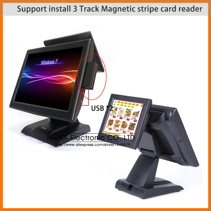 With Core-i3 CPU! 15 Inch POS Touch System, All In One POS Dual Screen desktop computer POS Restaurant Equipment(China (Mainland))