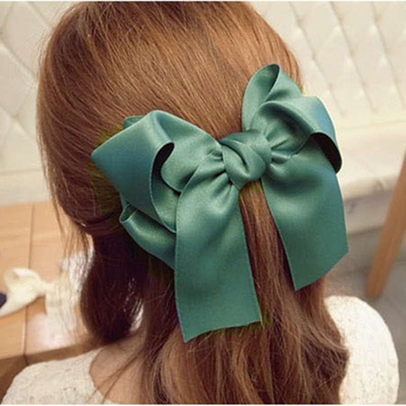 Hair Accessories Korean Women Multicolor Satin Ribbon Bow Hair Clip s Barrette Ponytail Holder(China (Mainland))