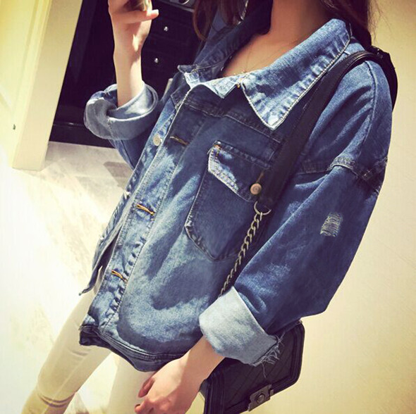 retro ripped jeans jackets woman autumn winter casual outerwear long sleeved hole denim jacket. Black Bedroom Furniture Sets. Home Design Ideas