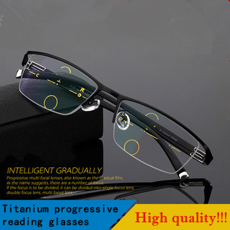 2016 fashion high quality men style progressive reading glasse new multifocal presbyopic half rim spectacles for men hyperopia(China (Mainland))