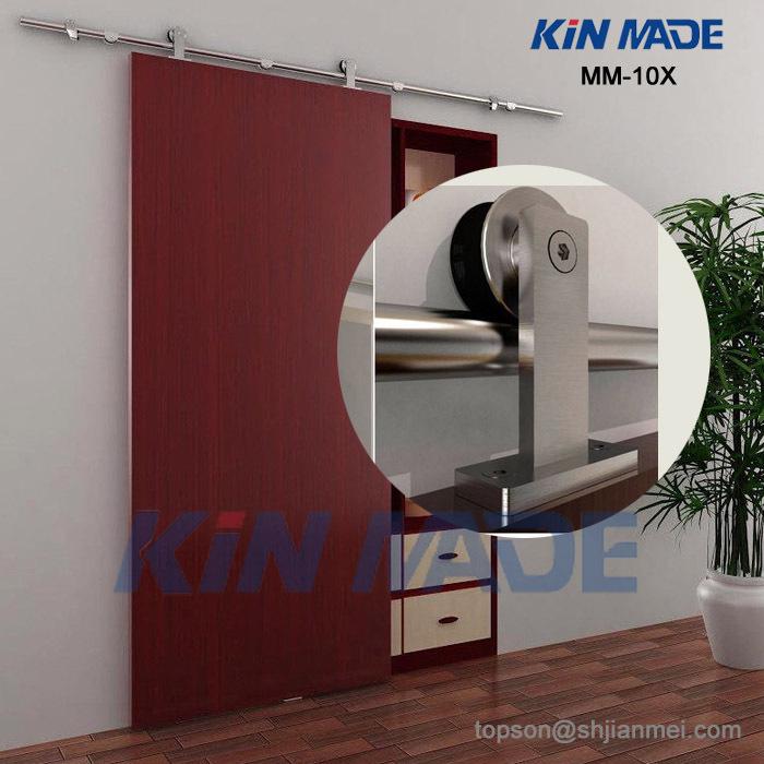 MM10X Free shipping+6.6ft Top mounted wooden sliding barn door full set hardware kit(satin finish)(China (Mainland))