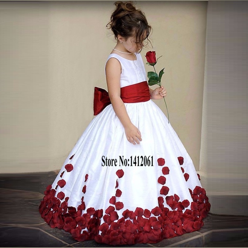 2015 White Taffeta Ball Gown Flower Girl Dresses With Big Bow First Communion Dresses For Girls Prom Children Dress(China (Mainland))
