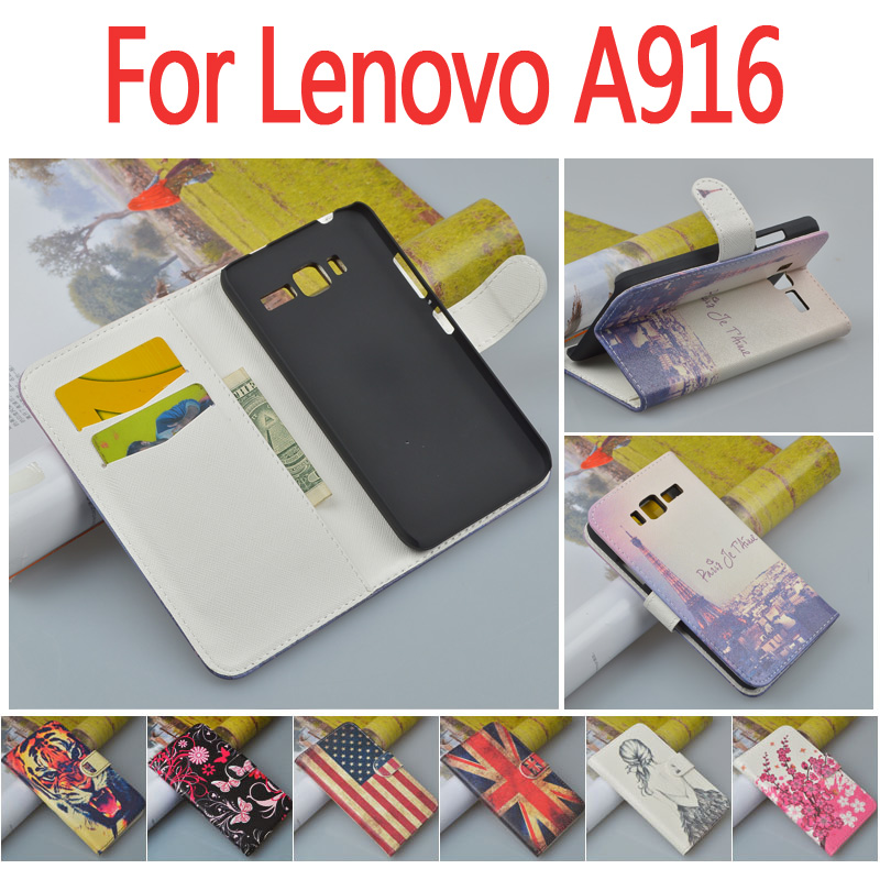 Printing Pattern Leather Flip Case cover Lenovo A916 cellphone Card Holder stander wallet slots 7 colors