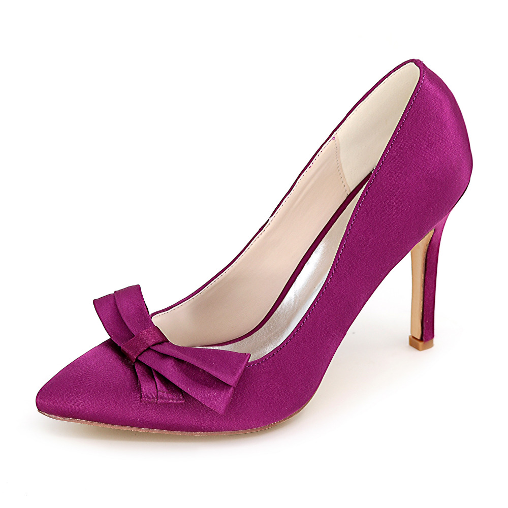 Fashion pointed toe bow bowknot woman's high heel satin dress shoes sexy ladies party wedding ball pumps red purple silver white(China (Mainland))