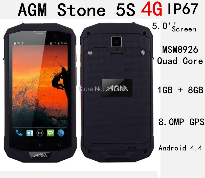 GIFT Bag!Original AGM Stone 5S 4G FDD LTE IP67 Waterproof Phone 5.0'' Screen MSM8926 Quad Core Android 4.4 OS 1GB 8GB 8.0MP GPS(China (Mainland))