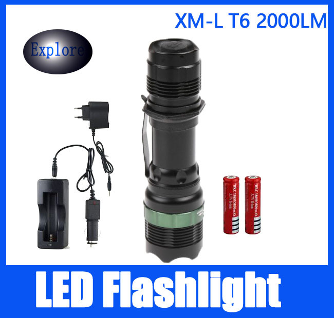 7W CREE XML-T6 1800 Lumens LED Flashlight Torch + 2*18650 Rechargeable Battery + Car Charger + DC Charger + Power Adapter