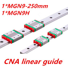 Free shipping 9mm Linear Guide MGN9 L= 250mm linear rail way + MGN9C or MGN9H Long linear carriage for CNC X Y Z Axis(China (Mainland))