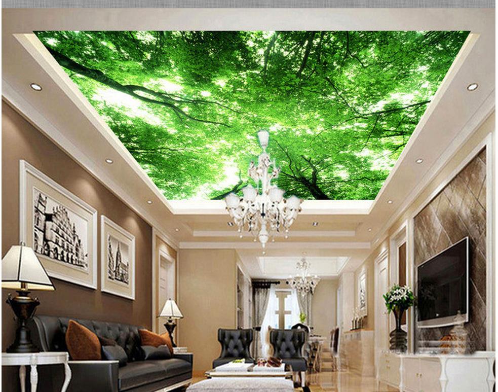 Custom photo wallpaper 3d european tree sky ceiling retro for Wallpaper home renovation