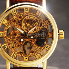 2015 new hot sale skeleton  hollow fashion mechanical hand wind men luxury male business leather strap Wrist Watch(China (Mainland))
