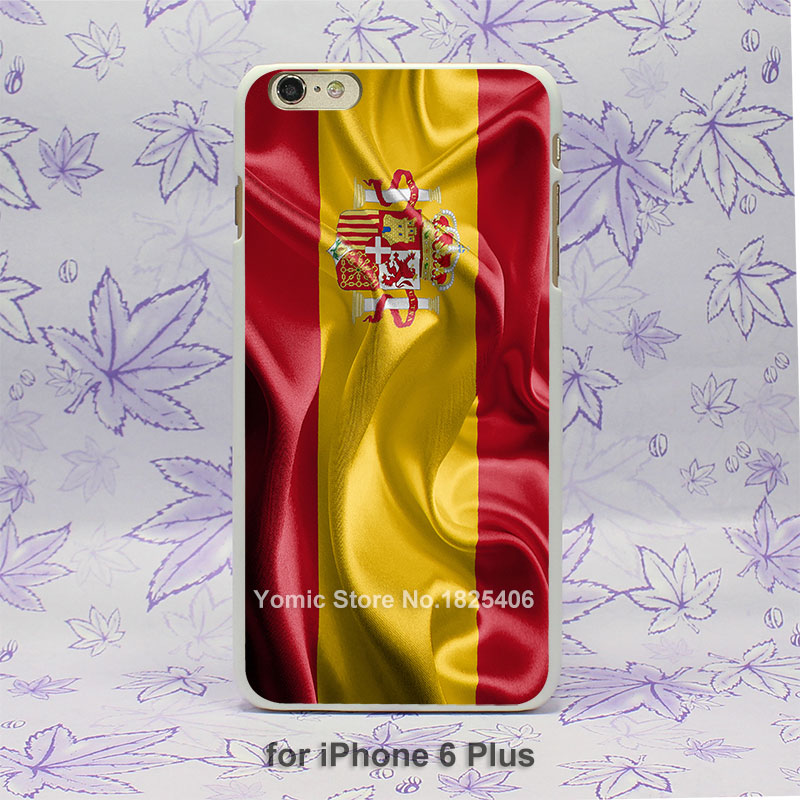 Kingdom of Spain Realistic Flag Design hard White Skin Case Cover for iPhone 4 4s 4g 5 5s 5c 6 6s 6 Plus(China (Mainland))