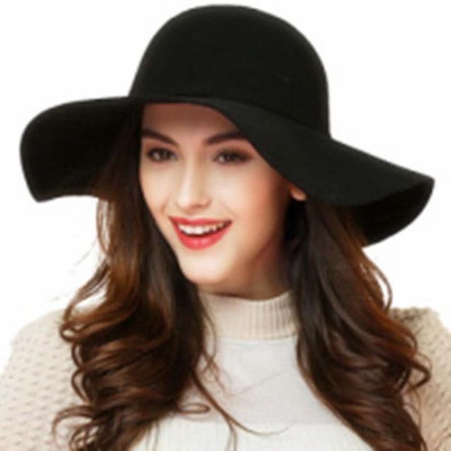 Весна лето сомбреро пляж вс шляпы для женщин зима старинные фетровую шляпу шерстяной ...