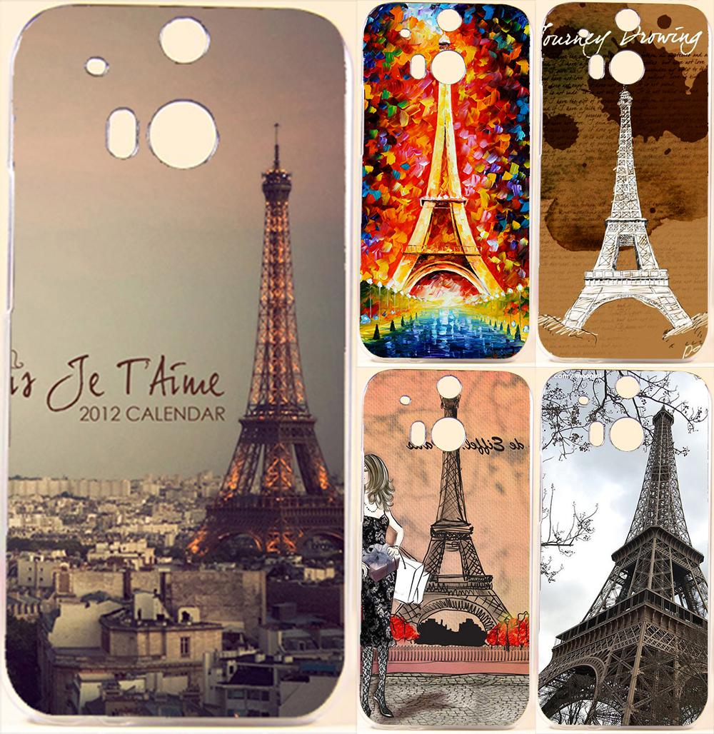 """Brilliant Painting Eiffel Tower Serie mobile phone case hard Back cover Skin Shell for HTC One 2 One M8 M8s M 8 M8x 5.0""""(China (Mainland))"""