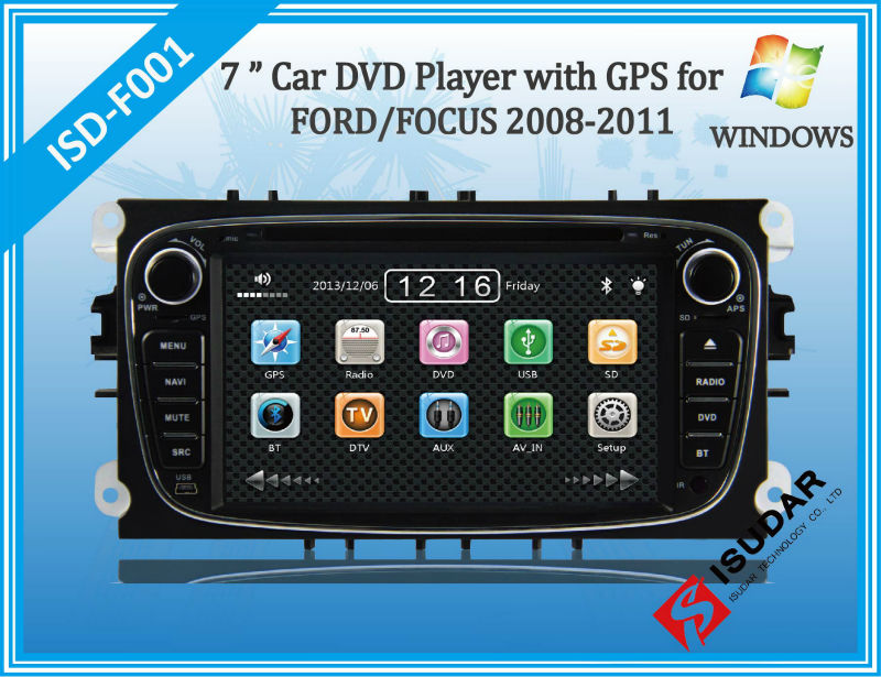 Автомобильный DVD плеер Isudar 2 Din 7/dvd ford/mondeo/s/max/focus 2 2008/2011 3G GPS BT TV 1080P Ipod компьютер с 3g и dvd