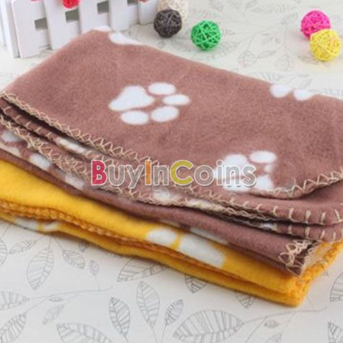Soft Handcrafted Hot Cute Cozy Warm Paw Prints Pet Dog Cat Fleece Blanket Mat Bed US AS #11763(China (Mainland))