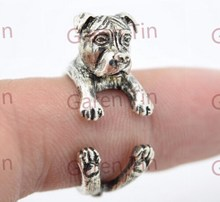 Pit Bull Charms Rings Pit bull Wrap Ring Pitbull Ring Natural Ear(China (Mainland))